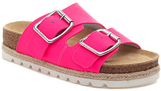 J/Slides Women's Sandals NEON - Neon Pink Leighton Leather Buckle-Strap Platform Sandal - Women