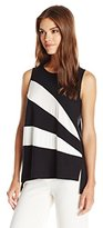 Vince Camuto Women's SleevelessColorblock Top W/ Diagonal Insets