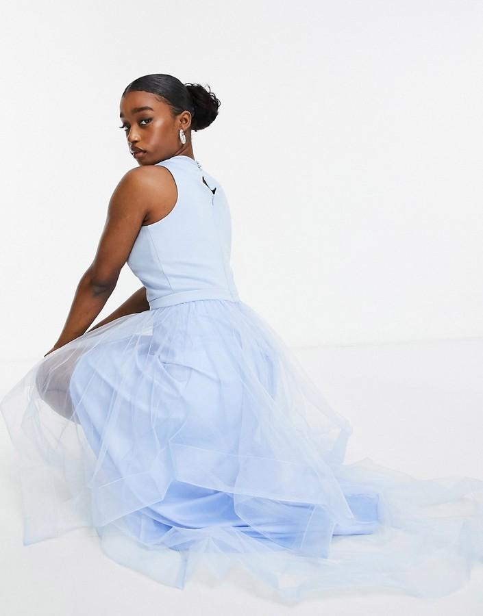 Chi Chi London high low organza dress in blue