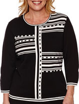 Alfred Dunner Port Antonio 3/4-Sleeve Blocked Stripe Sweater - Plus