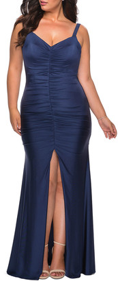 La Femme Plus Size Sleeveless Jersey Gown with Ruching