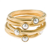 Baroni Five Pearl Gold Stack Rings