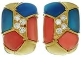 Van Cleef & Arpels 18K Yellow Gold Diamond Blue & Pink Agate Clip-on Earrings