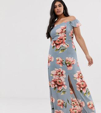 Club L London Plus Plus bardot ruffle sleeve maxi dress in floral print-Blue