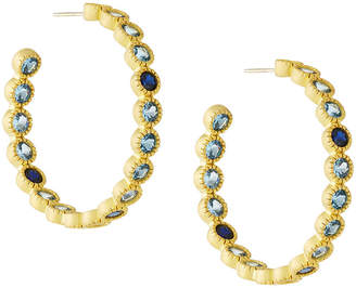 Freida Rothman Imperial Blue Bezel-Set Hoop Earrings