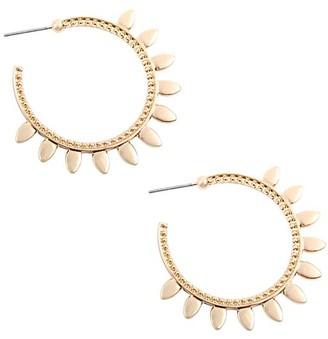 Riah Fashion Women's Earrings GOLD - Goldtone Spiked Open Hoop Earrings