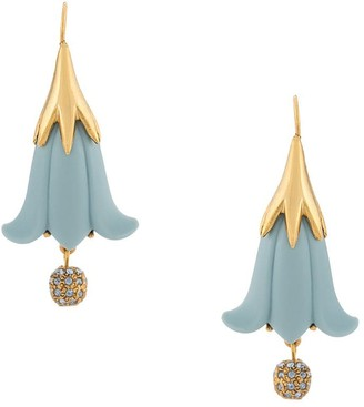 Oscar de la Renta Hanging Flower Earrings