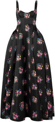 Emilia Wickstead Diamond Flared Floral-print Duchesse-satin Gown