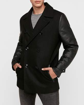 Express Wool Blend Water-Resistant Vegan Leather Peacoat