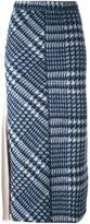 Hache contrast panel tartan skirt