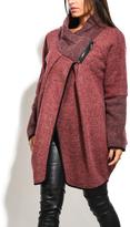 Everest Red Wool-Blend Asymmetric Cowl Neck Coat