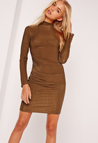 Missguided Long Sleeve Bodycon Dress Brown
