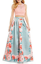 Teeze Me Two-Piece High Neck Illusion-Yoke Open-Back Lace To Floral Print Long Dress