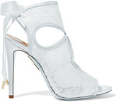 Aquazzura Sexy Thing Leather-trimmed Cutout Lace Sandals - White