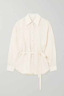 LE 17 SEPTEMBRE Belted Melange Linen-blend Gauze Shirt