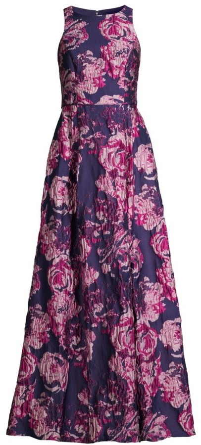 Aidan Mattox Sleeveless Floral Brocade Gown
