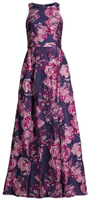 Aidan Mattox Sleeveless Floral Brocade Gown