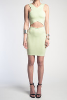 Donna Mizani V Strap Cut Out Mini Dress In Sage