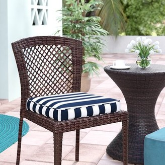 "Beachcrest Home Indoor/Outdoor Dining Chair Cushion Fabric: Stripe Navy, Size: 19"" W x 19"" D"