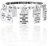 Bliss 18k White Gold Black Enamel Dangling 10 Commandments Charms Bracelets.
