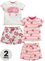 Mini V by Very Toddler Girls Quiet Please and Heart Shortie Pyjamas (2 Pack)