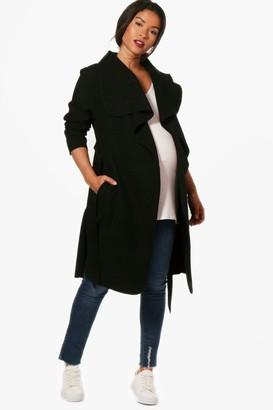 boohoo Maternity Tie Waist Shawl Collar Coat