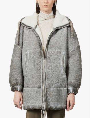 10seiotto Mestizo funnel-neck leather-shearling jacket