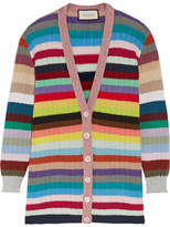 Gucci Metallic-trimmed Striped Cashmere And Wool-blend Cardigan - Red