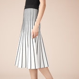 Maje Striped knit midi skirt