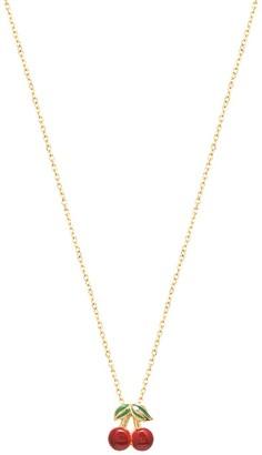 GABIRIELLE JEWELRY Private Garden 22K Gold Vermeil Enamel Cherry Pendant Necklace