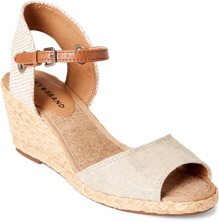 0708ef579 Lucky Brand Beige Wedge Women's Sandals - ShopStyle