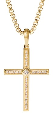 David Yurman 18K Yellow Gold Modern Renaissance Cross Pendant with Diamonds