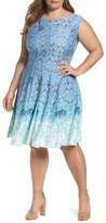 Gabby Skye Plus Size Women's Medallion Print Sleeveless Scuba Fit & Flare Dress