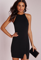 Missguided Petite 90's Neck Side Split Bodycon Dress Black