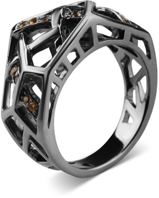 Bellus Domina Rhodium Plated Crossover Citrine Ring