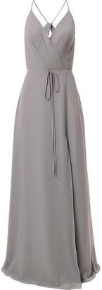 Marchesa Notte V-Neck Tie Waist Evening Gown