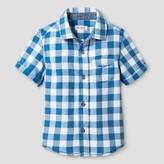 Cat & Jack Toddler Boys' Checks Short Sleeve Woven Shirt Cat & Jack - Blue
