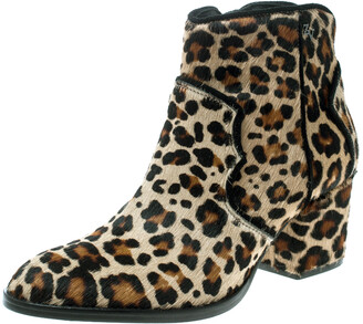 Zadig and Voltaire Brown Leopard Print Calf Hair Molly Leo Cowboy Boots Size 37