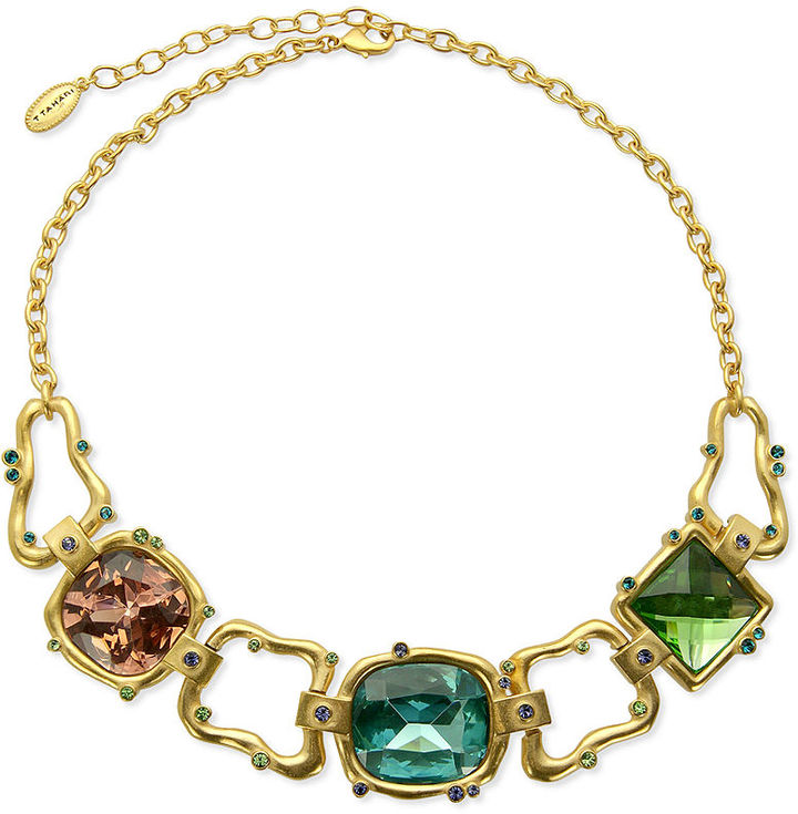 T Tahari Necklace, 14k Gold-Plated Multicolor Stone Statement Necklace