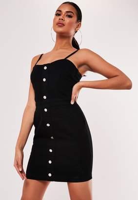 Missguided Black Stretch Cami Denim Mini Dress