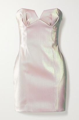 Area Strapless Iridescent Lame Mini Dress - Blush