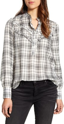 Lucky Brand Elsa Plaid Long Sleeve Ruffle Top