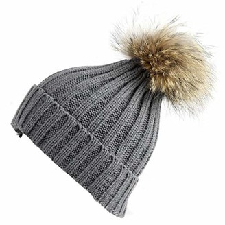 Feifanshop Womens Girls Warm Winter Crochet Hat Wool Knitted Beanie with Large Raccoon Fox Fur Pom Pom Cap Ski Snowboard Hats Bobble Ball (Grey)(Size: One size fit all)