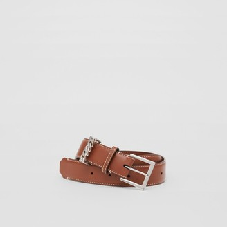 Burberry Chain Detail Topstitched Leather Belt