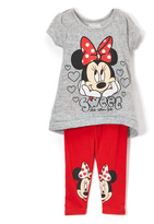 Children's Apparel Network Minnie Mouse Gray 'Sweet' Tee & Leggings - Infant & Toddler