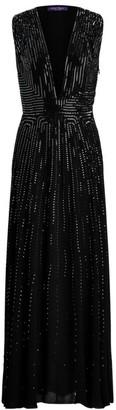 Ralph Lauren Evan Embellished Deep V-Neck Gown