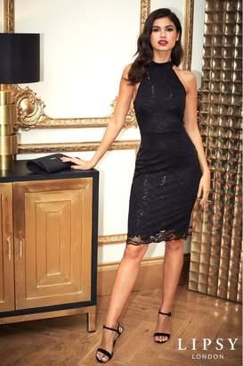 Lipsy Sequin Lace Halter Bodycon Dress - 10 - Black
