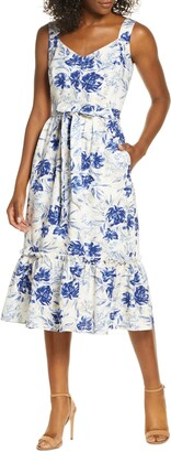Donna Ricco Floral Sleeveless A-Line Dress