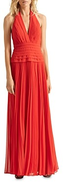 Halston Pleated Halter Gown