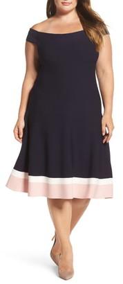 Eliza J Off-the-Shoulder Fit & Flare Dress